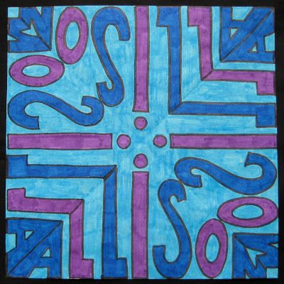 Kaleidoscope Lettering Design:  Lesson Plan with examples from  Teach Kids Art