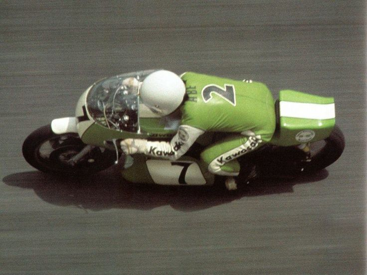 Takao Abe on Kawasaki H2R FUBER at Ontario in 1975