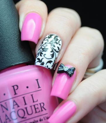 Black, white and pink: Nails Art, Cute Nails, Nails Design, Polish Nails, Bows Nails, Pink Nails, Pink Bows, Black White, Damasks Nails