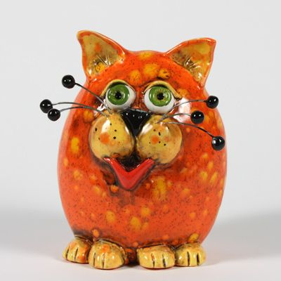 Wildfire Cat  Purrfect handbuilding project.  This could be an inverted pinch pot and don't forget to use a pin tool on each side.  Then a black pipe cleaner can be run through for the whiskers.