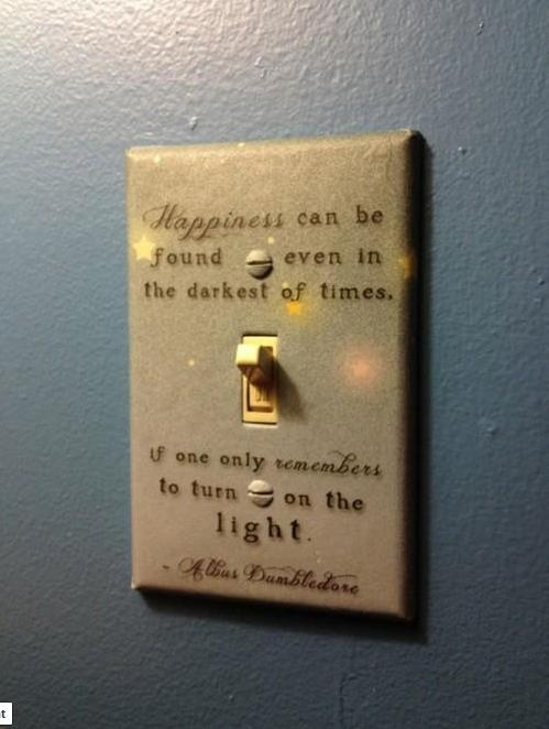 .: Idea, Switch Plates, Lights Switch Covers, Harrypotter, Albusdumbledore, Albus Dumbledore, Harry Potter Quotes, Lightswitch, Kids Rooms