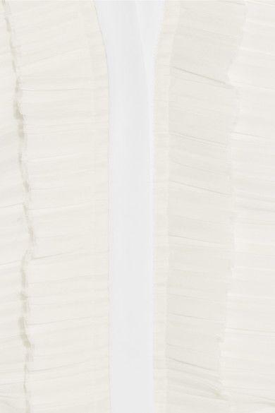 Givenchy - Ruffled Midi Dress In White Silk Crepe De Chine - FR