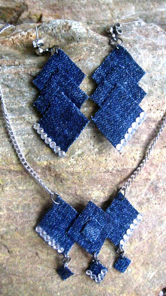 Special Order Denim 'N Diamonds Necklace and Earrings set by JeansWeaver Made from upcycled denim, with a great review!