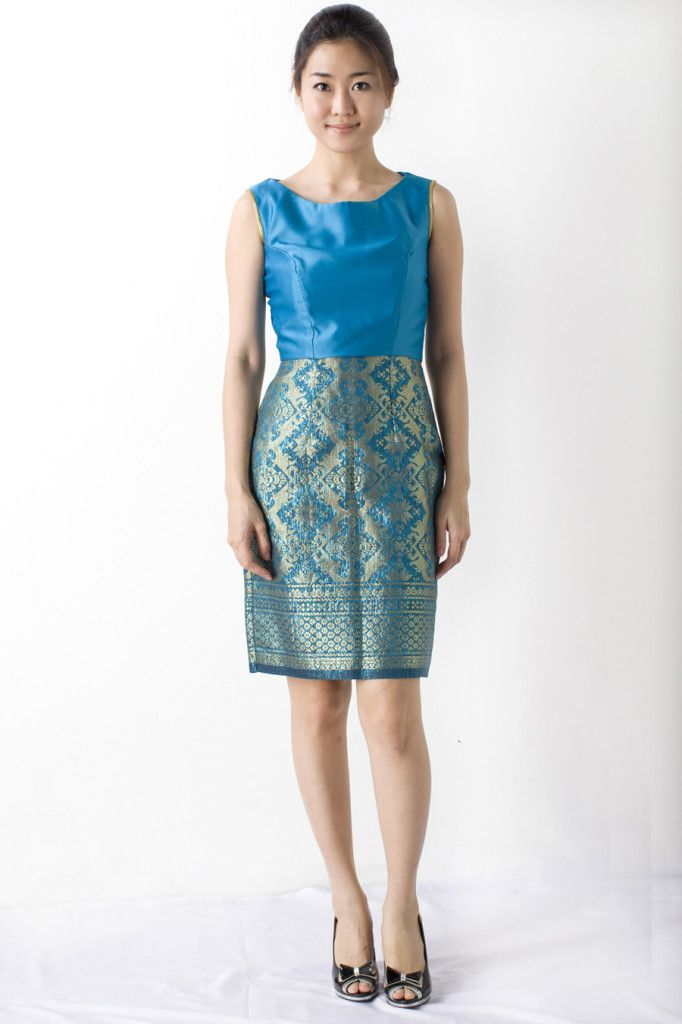 Nabelle Erwani of Malaysia | Blue party dress songket, a fusion of old and new