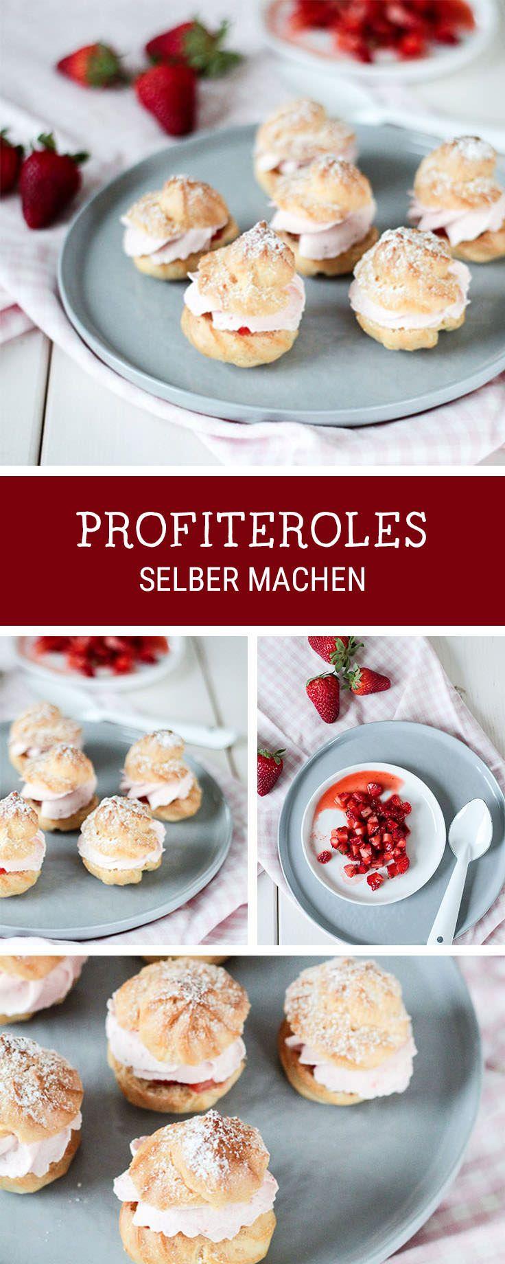 Rezept für ein süßes Dessert: Profiteroles mit Erdbeeren, Windbeutel selbermachen / creamy profiteroles with strawberries, dessert recipe via DaWanda.com