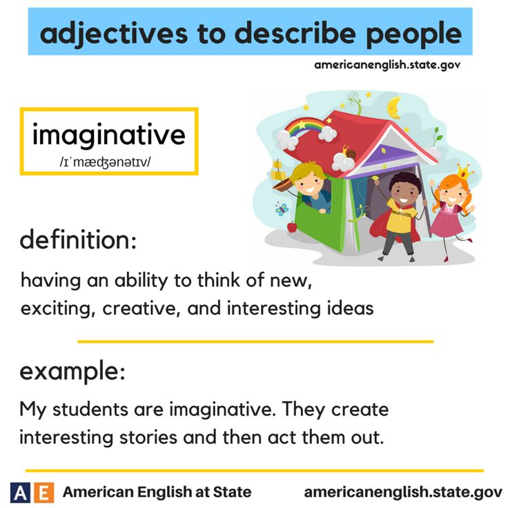 adjectives to describe people: imaginative