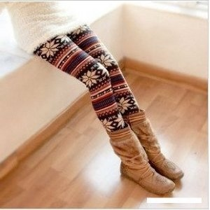 Korea Fashion Stylish Snowflake Patterns Colorful Stripes Leggings $7.75