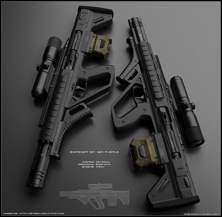 Concept of sci rifle. Design is not comlicated. Few parts sticked together with usual profile and bullpup settings in carbon suit. Worked in 3ds max, used vray rendering engine and finished i...