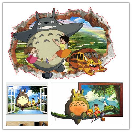 cartoon 3D My Neighbor Totoro wall sticker kindergarten for boy kids room Home Decoration Home Decor bedroom wallpaper poster