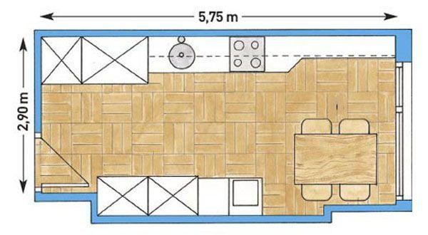 Дизайн интерьера : Как расставить мебель в кухне вытянутой формы