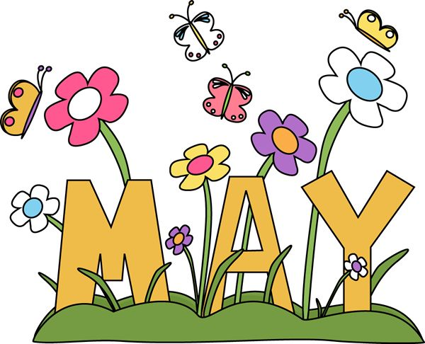 Free Month Clip Art | Month of may Flowers Clip Art Image - the word May