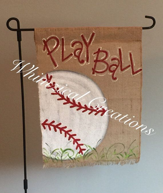 Handpainted burlap garden flag ...Baseball by whimzicalcreations