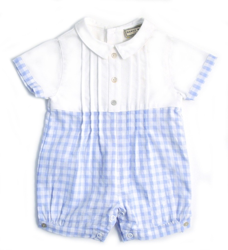 Baby Boys Classic Romper - Sky Gingham