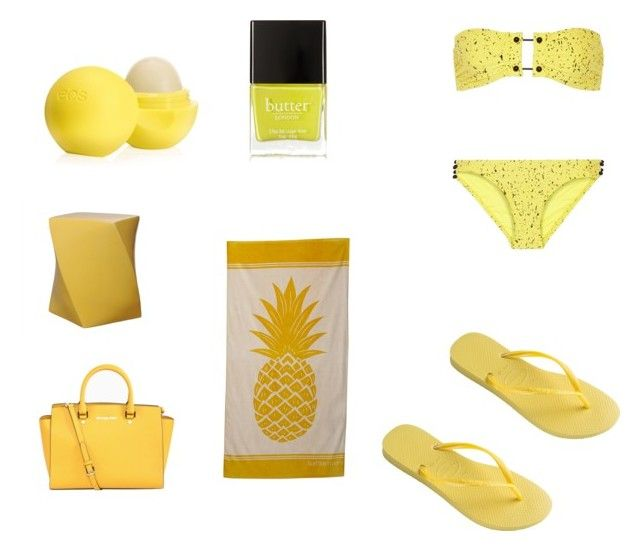 """Sun yellow"" by hayleybanks on Polyvore featuring Eos, Proenza Schouler, Emissary, MICHAEL Michael Kors, Butter London and Havaianas"