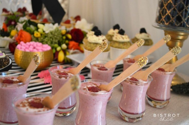 STRIPES AND FLORAL DESSERT TABLE #stripes #floral #party #anniversary #ohitsperfect #glitter #spoons #petite-desserts #desserts