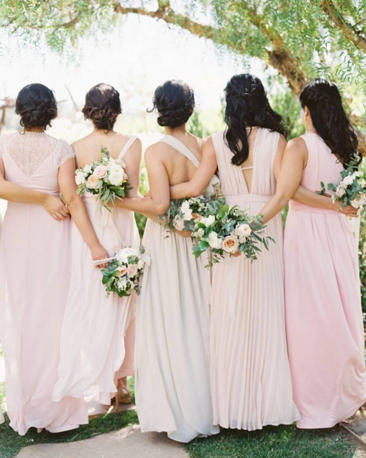Trust us, mismatched dresses won't just make your bridesmaids happy, but they'll also make for gorgeous photos! | Photography: @dianamcgregor | Photography - Assistance: @lguilford | Event Coordination: @mele_amore | Floral Design: @plentyofpetals | Bridesmaids' Dresses: @jennyyoonyc + @asos | Hair + Makeup: @kellyzhangstudio | Calligraphy: @seniman_calligraphy