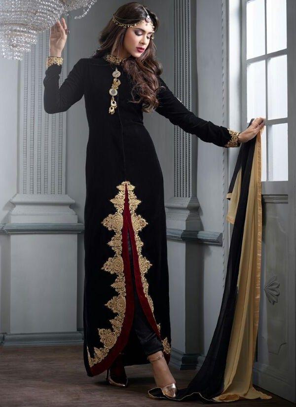 Black and Gold Velvet Anarkali