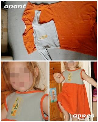 récup tee shirt bébé et chemise de nuit de maman pour un pyjama qui tourne ! - upcyled