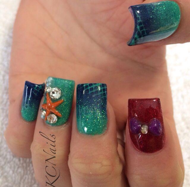 Two Tone Nail Polish Fade: Mermaid Nails, Little Mermaid Nails. Teal, Purple And Red