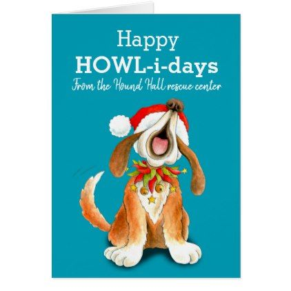 Howling singing dog art business Christmas card - Xmascards ChristmasEve Christmas Eve Christmas merry xmas family holy kids gifts holidays Santa cards