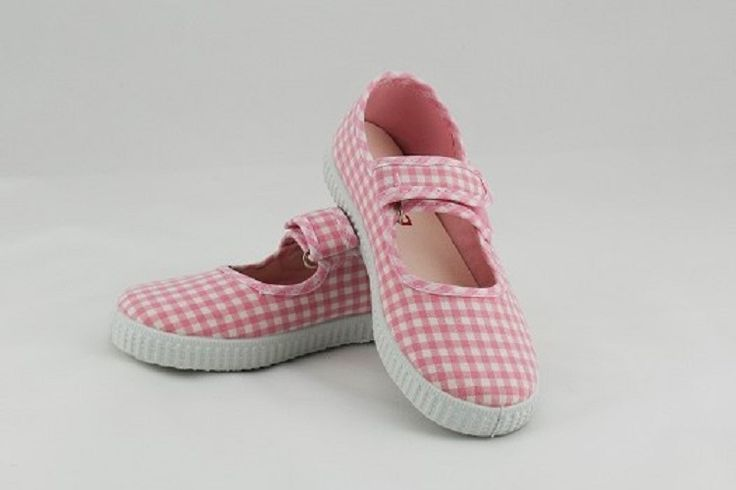 Gorgeous pink Gingham Cienta shoes. 100% cotton canvas with rubber soles and Velcro strap. Perfect for those summer days, comfy and pretty!