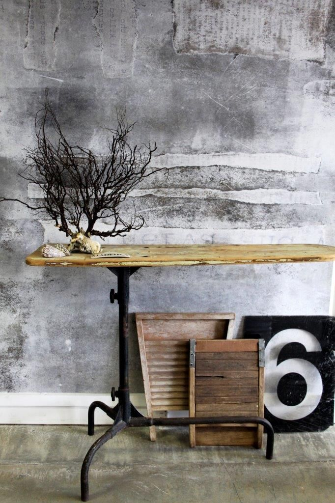Coral, industrial iron board, etc. Dusty Patina Mural / Expression Collection. Styling: Scandinavian Wallpaper & Decor. Photography: Gemma Lovitt.