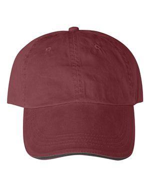 3285a5687fe Anvil 166 - Sandwich Trim Pigment-Dyed Twill Cap