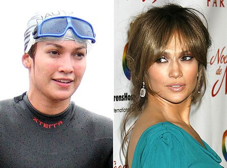 : Jennifer Lopez without makeup and with