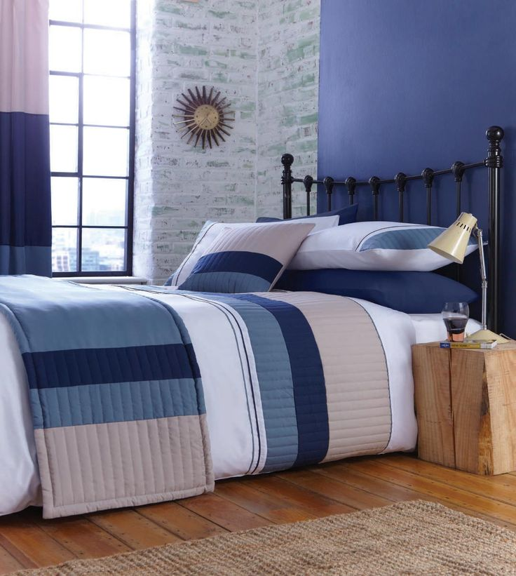 Details About Blue Beige Amp White Striped Boys Bedding
