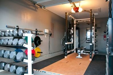 Garage gym pictures are expected to be overly simplistic or just plain terrible looking. A garage gym does not have to take up a lot of space. Neither does it have to have terrible conditions.    In this picture:    Dumbbells  Power rack  Weight bench  Olympic barbells  Mirrors  Flooring