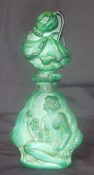 1930s Ingrid Glass Line Czech Art Deco NUDE Malachite Perfume Bottle w/ Dauber 1.2k: 1930 Art Glasses, Bottle 3 3, The Perfume, Bottles Jars Glasses Sparkle, Perfume Bottle, Glasses 1930, Ingrid Glasses, Glasses Bottles Perfume, Malachite Perfume