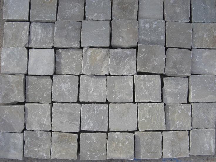 Natural Indian Sandstone Cobbles (Setts) - Kandla Grey - 100 x 100mm - Cobbles & Setts - Paving