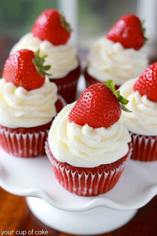 Strawberry Red Velvet Cupcakes - Cupcake Daily Blog - Best Cupcake Recipes .. one happy bite at a time!