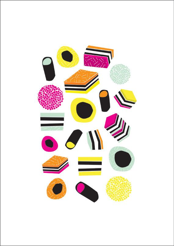 licorice Allsorts Art Print. Digital illustration. Candy. Sweets. Colourful.