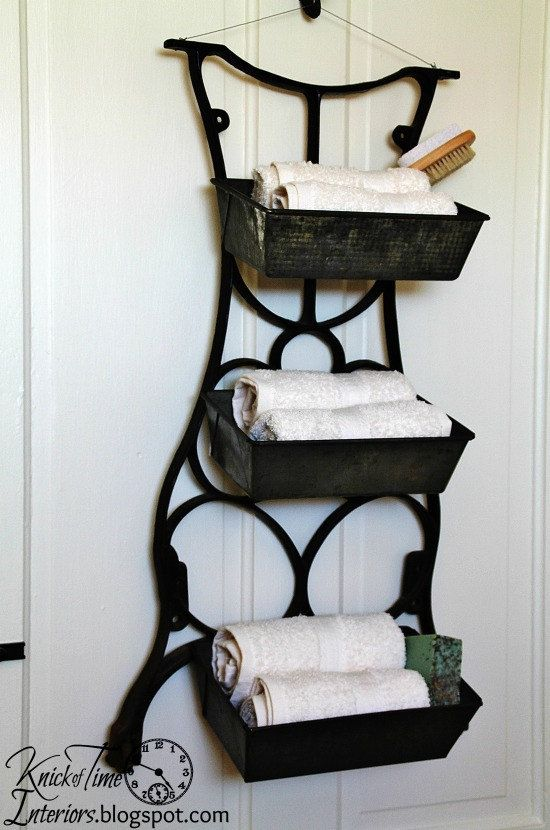 Metal Wall Bins Using Repurposed Vintage Cast Iron Sewing Machine Leg  Bread Pans