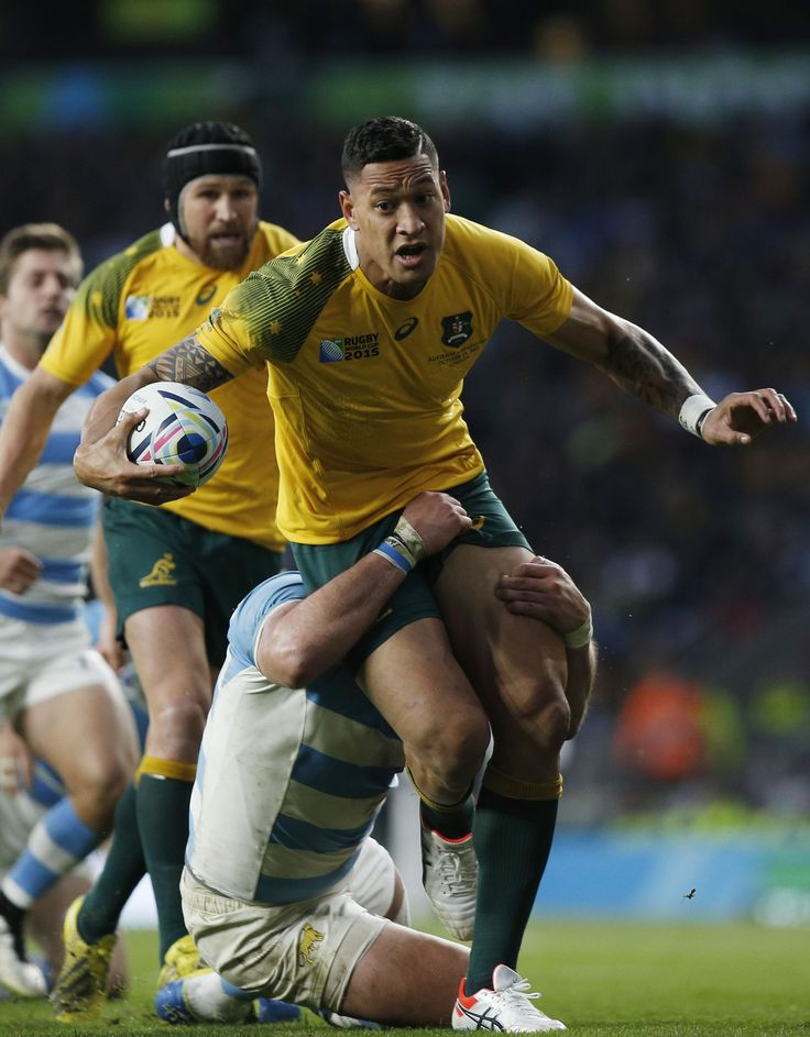 Australia's Israel Folau is tackled during the Wallabies' Rugby World Cup semifinal win over Argentina