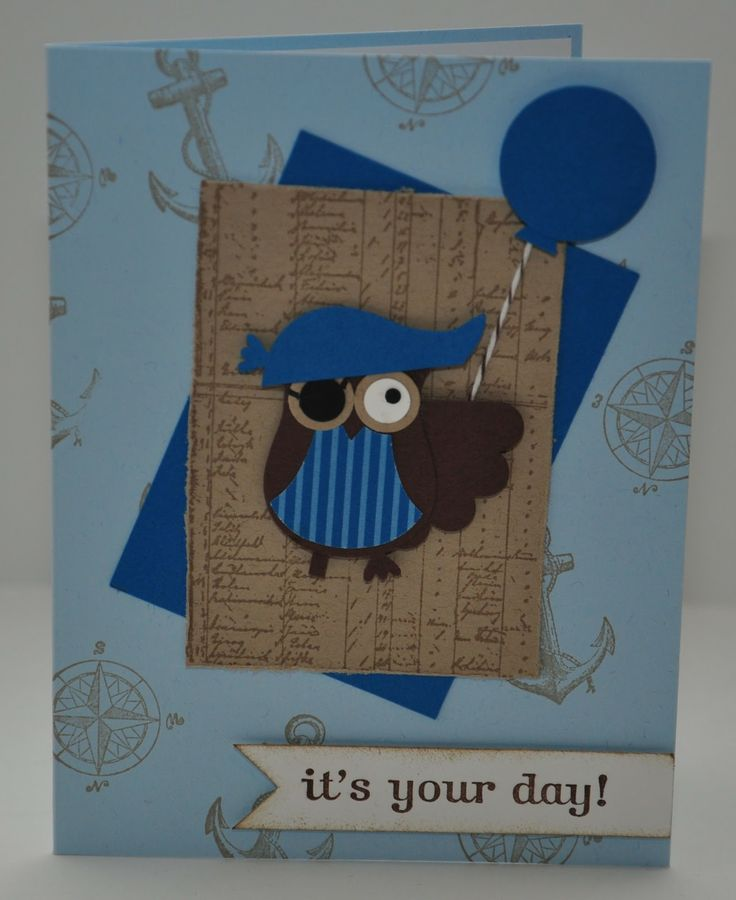 Boy Pirate Owl Birthday Card - Stampin Up