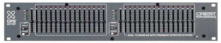 CREST AUDIO CPQ-2215P Ecualizador de 2 canales de Q constante, 15 bandas/canal. Localizador de Feedback. 2RU.