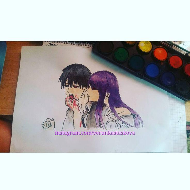 Paper painting, wathercolor. | Anime/manga: Tokyo Ghoul [Ken Kaneki x Rize Kamishiro]