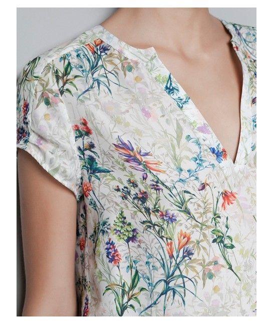 Vintage print floral blusa de manga curta v Chiffion pescoço OL camisa casual tops magro marca de design elegante ST254 Novos ' mulheres em Blusas de Roupas & acessórios no AliExpress.com   Alibaba Group