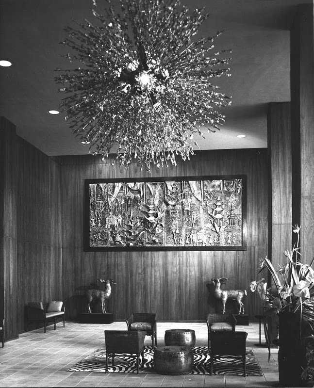 The Entrance Lobby Of Hilton Lagoon Apartments Honolulu Hawaii With Duquettes Fireworks Chandelier And Fantasy Coromandel Screen