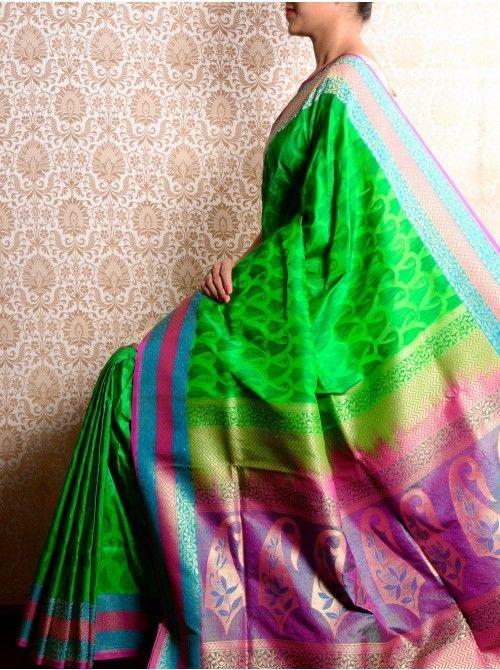 Green Katan Silk Saree