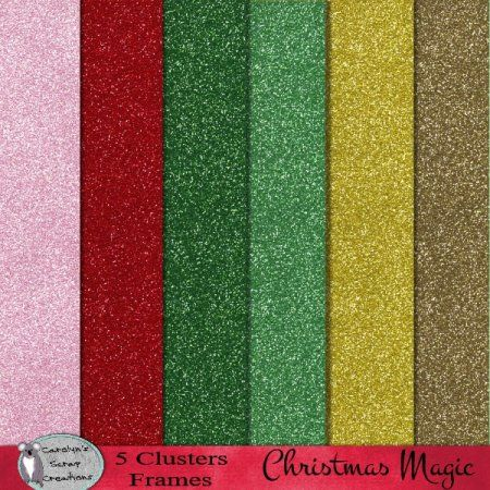 Christmas Magic glitter papers