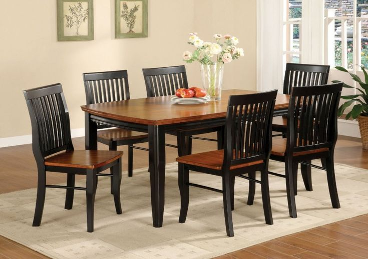 Dining Room, Black And Brown Painted Oak Mission Style Dining Room Set With Rectangle Wooden Dining Table And 6 Dining Chairs With White Carpet Tiles And Hardwood Floor Tiles Ideas ~ Mission Style Dining Room Set