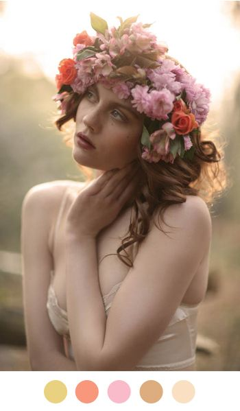 Kind of in love with this flower crown.  Might do a scaled down version for the Midsummer Night's Dream party.