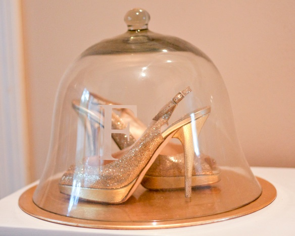 I am doing this!  What a great way to display your wedding shoes!