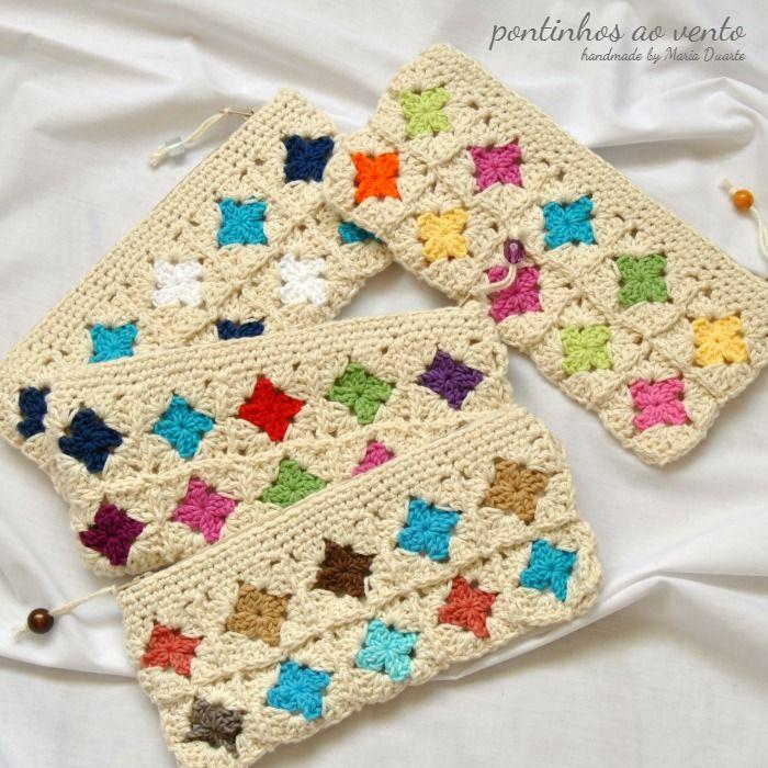 crochet pencil case - pontinhos ao vento: Diferentes. Iguais. A condizer