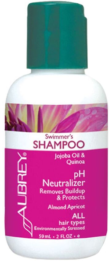 http://www.theremustbeabetterway.co.uk/aubrey-organics-swimmers-shampoo-59ml.html Aubrey Organics Swimmers Shampoo 59ml for all Hair Types / Environmentally Stressed pH Neutraliser. Clean-rinsing formula washes away buildup and impurities and normalises your hair's pH. Prevents discoloration of gray or blonde hair, and hair exposed to chlorine or salt water. Tantalising Almond Apricot scent. Vegan.