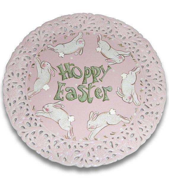 Hoppy Easter Decorative Ceramic Platter by SerendipityCrafts