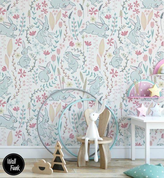 Rabbit Nursery Wallpaper Removable Temporary Stick On Etsy In 2020 Nursery Wallpaper Stick On Wallpaper Removable Wallpaper
